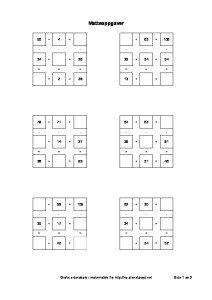 tall kryssord sudoku mattekryss addisjon og substraksjon pluss minus 3x3 ruter enkle oppgaver-thumbnail