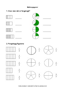 brøk enkel matteoppgaver tegning sirkel fargelegg 3 trinn-thumbnail