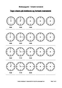 klokka fortsett mønsteret hel halv og kvart fram og tilbake i tid 1 side pdf image 212x300