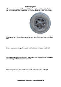 leseoppgaver gange og delingsoppgaver tekst og logikk regn ut dekk bolter i bilen pdf image 212x300