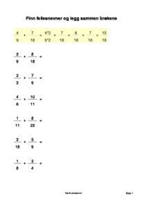 legg sammen brøkene 1 side pdf image 212x300