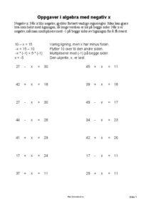 algebra negativ ukjent 1 side 212x300