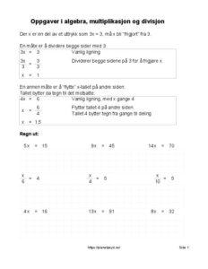 algebra multiplikasjon 1 ark 2 232x300